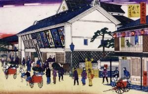 1881年(明治14年)に3代目歌川広重が描いた「東京名所之内・第一の劇場新富座」