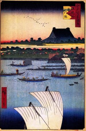 広重「名所江戸百景」より「築地門跡」。当時の和風の本堂が描かれている